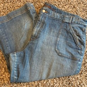Blue Jean Capris by Eddie Bauer 20 Tall Faded look